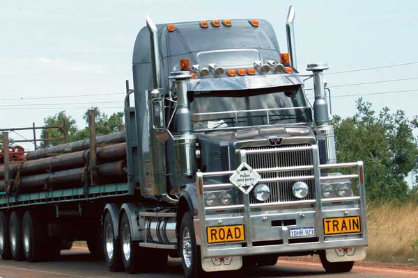 Pipes being transported through road trains in Broome